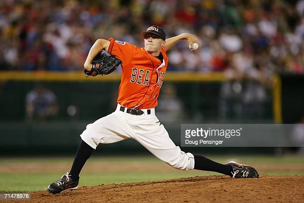 Kevin Gunderson of the Oregon State Beavers pitches against the Rice Owls during NCAA College World Series Baseball at Rosenblatt Stadium on June 22...