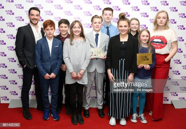 Kevin Guthrie and Alexa Davies alongside Braunston Primary School and Willowmann Productions with the Best Animation award for 'The Great Escape at...