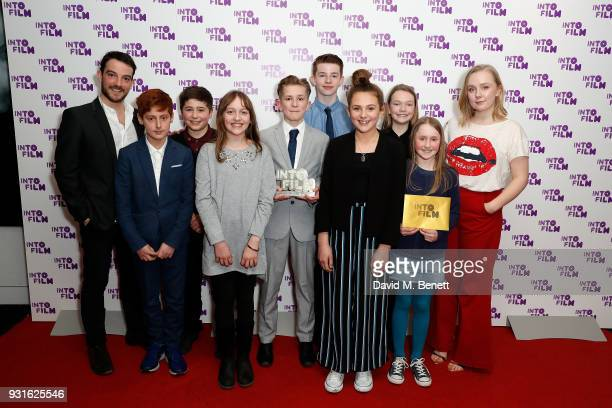 Kevin Guthrie and Alexa Davies alongside Braunston Primary School and Willowmann Productions with the Best Animation award for 'The Great Escape' at...