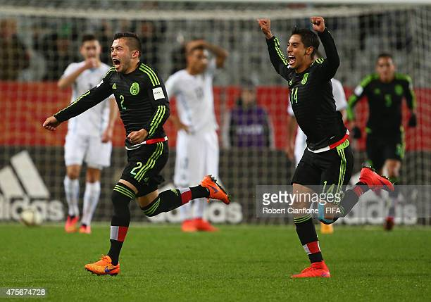 Kevin Gutierrez of Mexico celebrates after scoring a goal during the FIFA U-20 World Cup New Zealand 2015 Group D match between Mexico and Uruguay at...