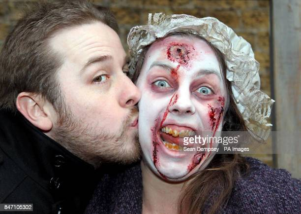 Kevin Haney from London kisses Pretty Polly the Plague Victim in the London Dungeon Kiss of Death booth which has opened for business for Valentine's...