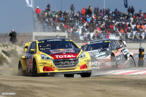 Kevin HANSEN in Peugeot 208 of Team Peugeot Total and Janis BAUMANIS in Ford Fiesta of Team Stard in action during the World RX of Portugal 2018 at...