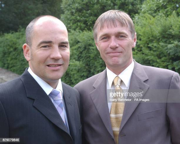 Kevin Hardidge and Jeff Ryding during a reception at the Prince of Wales' Highgrove estate to pay tribute to the staff who manned the disbanded Royal...