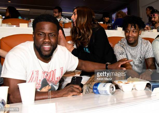 Kevin Hart and 21 Savage attend the Super Bowl LIV at Hard Rock Stadium on February 02, 2020 in Miami Gardens, Florida.
