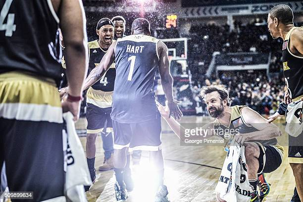 Kevin Hart and actor Jason Sudeikis attends the 2016 NBA AllStar Celebrity Game at Ricoh Coliseum on February 12 2016 in Toronto Canada