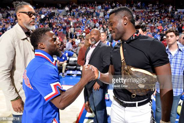 Kevin Hart and Antonio Brown attend the game between the Miami Heat and the Philadelphia 76ers in Game Two of Round One of the 2018 NBA Playoffs on...