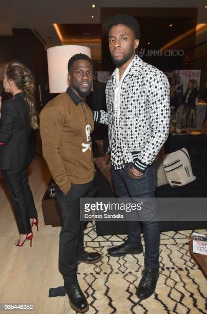 Kevin Hart and Chadwick Boseman attend The Hollywood Reporter and Jimmy Choo Power Stylists Dinner on March 20, 2018 in Los Angeles, California.