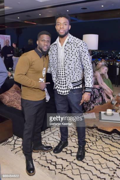 Kevin Hart and Chadwick Boseman attend The Hollywood Reporter and Jimmy Choo Power Stylists Dinner on March 20 2018 in Los Angeles California