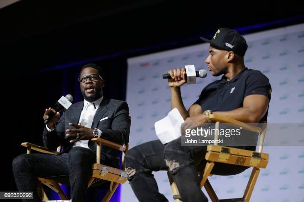 Kevin Hart and Charlamagne tha God speak during the Kevin Hart LiveQ and A at BookCon 2017 at Javits Center on June 4 2017 in New York City