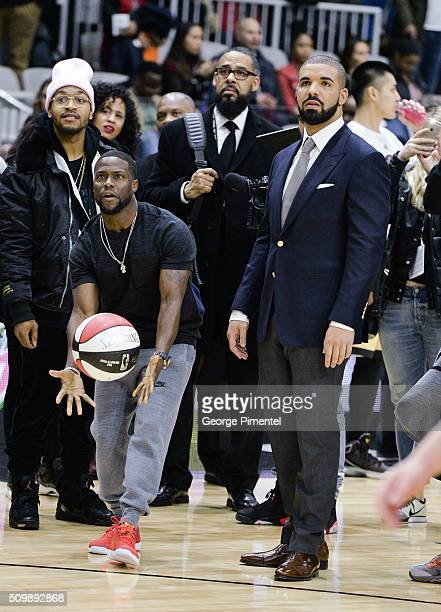 Kevin Hart and Drake attend the 2016 NBA AllStar Celebrity Game at Ricoh Coliseum on February 12 2016 in Toronto Canada