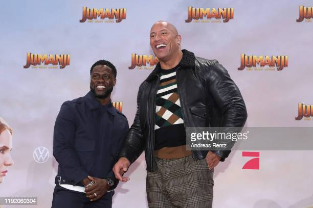 Kevin Hart and Dwayne Johnson attend the Berlin premiere of JUMANJI THE NEXT LEVEL at Sony Center on December 04 2019 in Berlin Germany