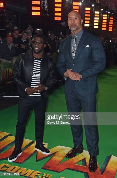 Kevin Hart and Dwayne Johnson attend the UK Premiere of 'Jumanji Welcome To The Jungle' at Vue West End on December 7 2017 in London England