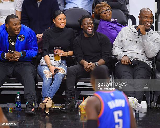 Kevin Hart and Eniko Parrish attend a basketball game between the Oklahoma City Thunder and the Los Angeles Clippers at Staples Center on January 16...