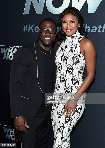 Kevin Hart and Eniko Parrish attend the Kevin Hart What Now New York Screening at AMC Loews Lincoln Square 13 theater on October 12 2016 in New York...