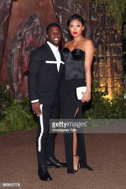 Kevin Hart and Eniko Parrish attend the premiere of Columbia Pictures' 'Jumanji Welcome To The Jungle' on December 11 2017 in Hollywood California