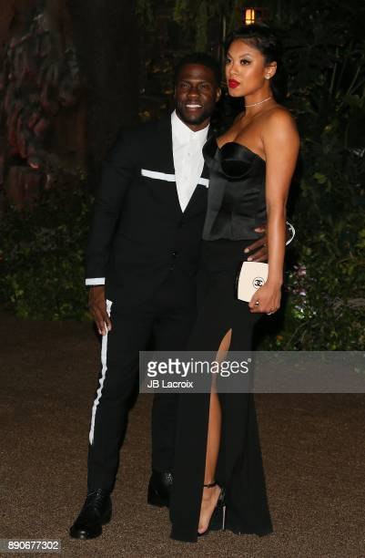 Kevin Hart and Eniko Parrish attend the premiere of Columbia Pictures' 'Jumanji Welcome To The Jungle' on December 11 2017 in Los Angeles California