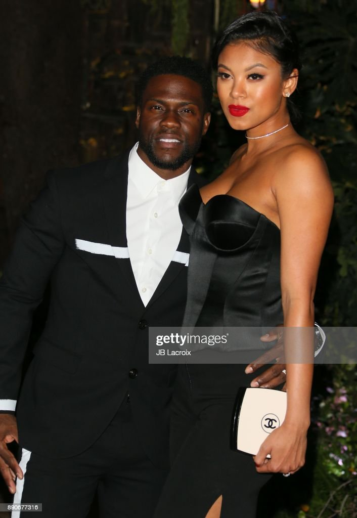 Kevin Hart and Eniko Parrish attend the premiere of Columbia Pictures' 'Jumanji: Welcome To The Jungle' on December 11, 2017 in Los Angeles, California.