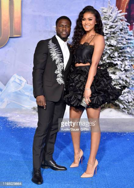 Kevin Hart and Eniko Parrish attend the premiere of Sony Pictures' Jumanji The Next Level on December 09 2019 in Hollywood California