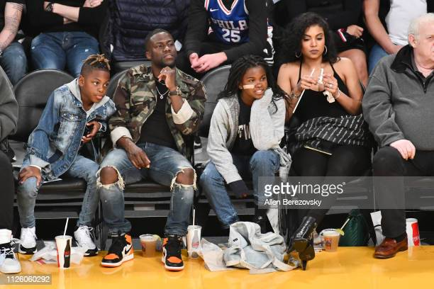 Kevin Hart and his family attend a basketball game between the Los Angeles Lakers and the Philadelphia 76ers at Staples Center on January 29 2019 in...