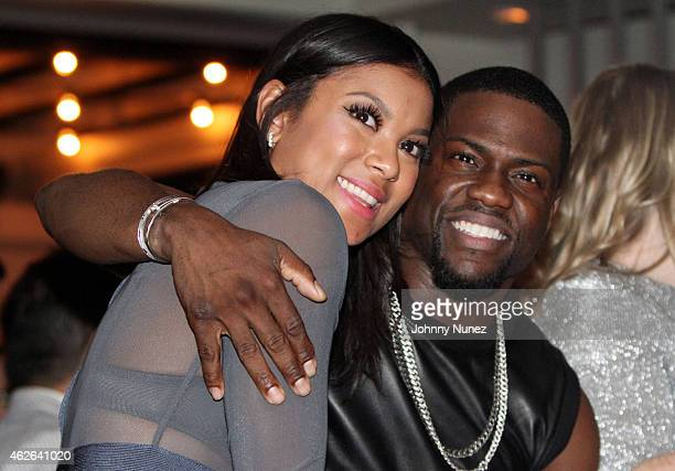 Kevin Hart and his fiancee Eniko Parrish attend the Kevin Hart Pre Super Bowl Party Hosted By NuFace Ent at The Culture Pearl on January 31 in...