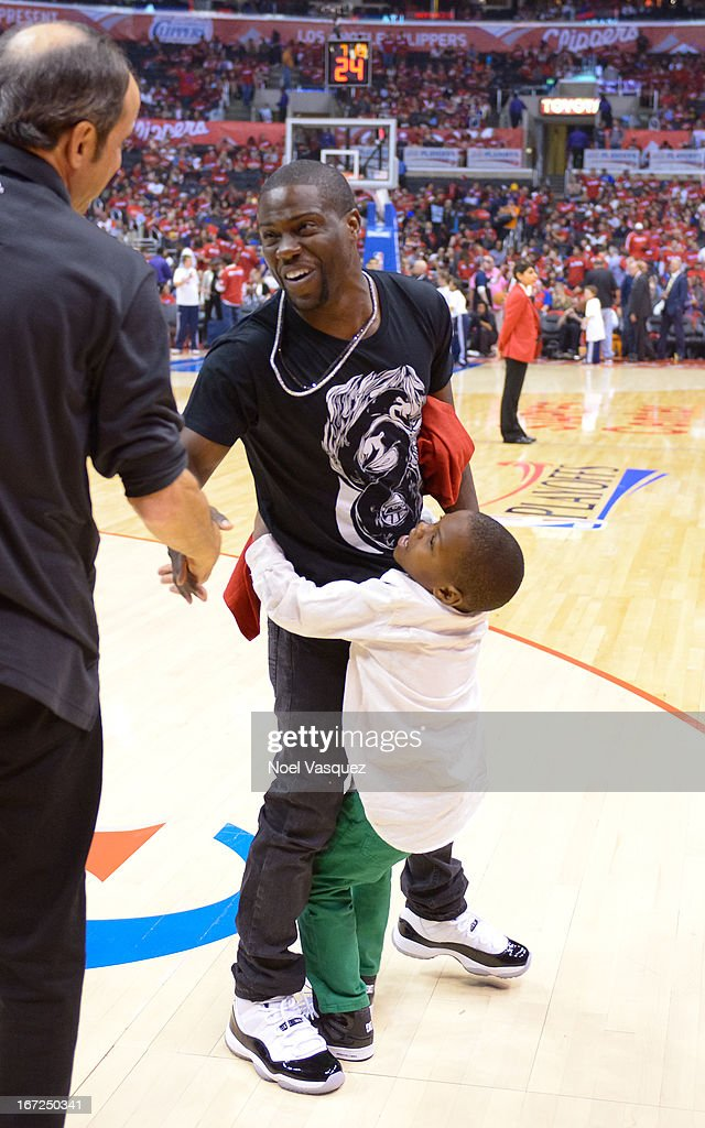 Kevin Hart and his son Hendrix attend a playoff basketball game between the Memphis Grizzlies and the Los Angeles Clippers at Staples Center on April 22, 2013 in Los Angeles, California.