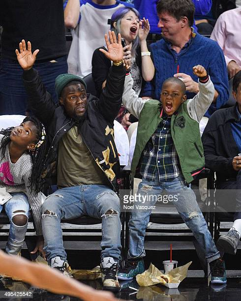 Kevin Hart and his son Hendrix Hart attend a basketball game between the Phoenix Suns and the Los Angeles Clippers at Staples Center on November 2...