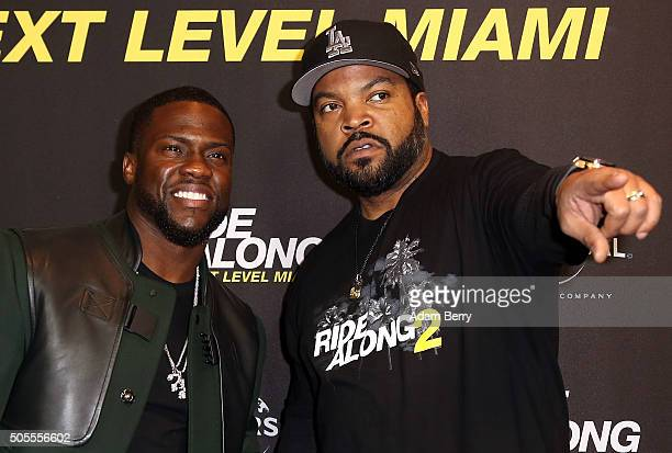 Kevin Hart and Ice Cube pose during a photo call for the film 'Ride Along Next Level Miami' at Kino in der Kulturbrauerei on January 18 2016 in...
