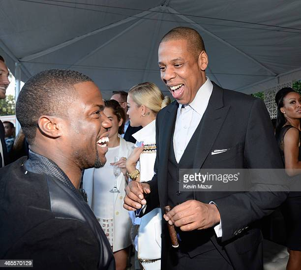 Kevin Hart and JayZ attend the Roc Nation PreGRAMMY Brunch presented by MAC Viva Glam at Private Residence on January 25 2014 in Beverly Hills...