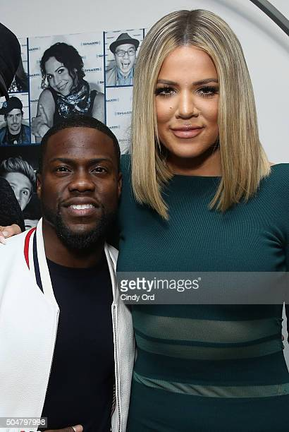 Kevin Hart and Khloe Kardashian run into each other at the SiriusXM Studios on January 13 2016 in New York City