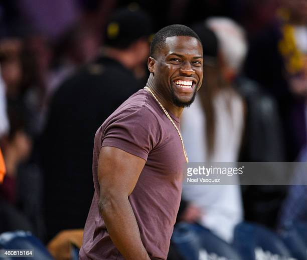 Kevin Hart attends a basketball game between the Golden State Warriors and the Los Angeles Lakers at Staples Center on December 23, 2014 in Los...