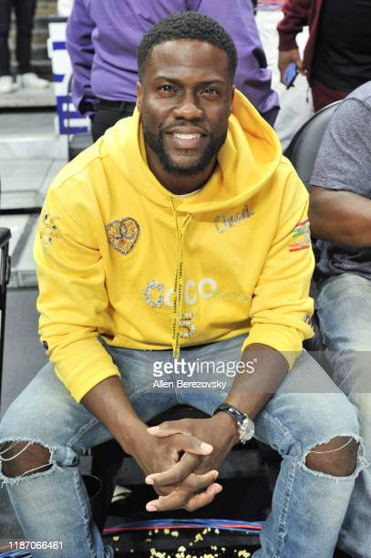 Kevin Hart attends a basketball game between the Los Angeles Clippers and the Toronto Raptors at Staples Center on November 11, 2019 in Los Angeles,...