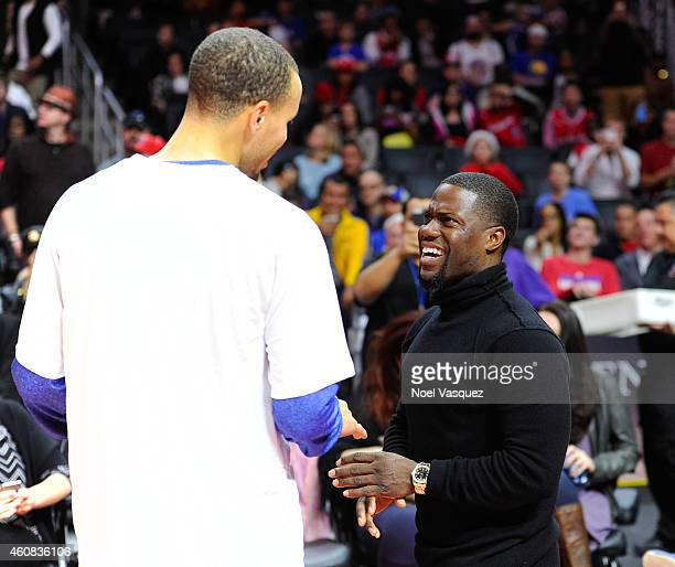 Kevin Hart attends a basketball game on Christmas between the Golden State Warriors and the Los Angeles Clippers at Staples Center on December 25,...