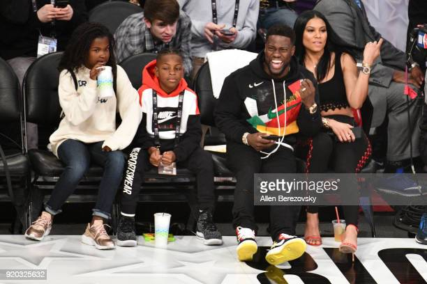 Kevin Hart Eniko Parrish Hendrix Hart and Heaven Hart attend The 67th NBA AllStar Game Team LeBron Vs Team Stephen at Staples Center on February 18...