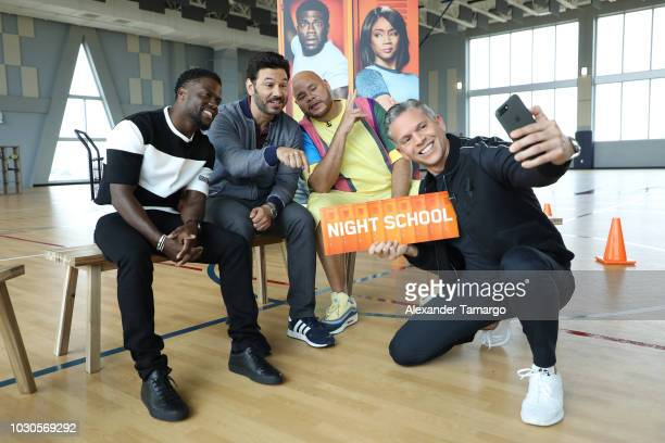 Kevin Hart Fat Joe Al Madrigal and Rodner Figueroa are seen at SLAM Miami Charter School to promote the film 'Night School' on September 10 2018 in...