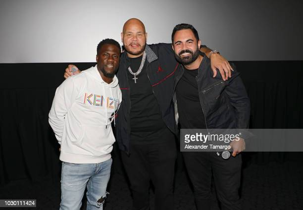 Kevin Hart Fat Joe and Enrique Santos are seen at the private screening for the film 'Night School' at CMX Brickell City Center on September 9 2018...