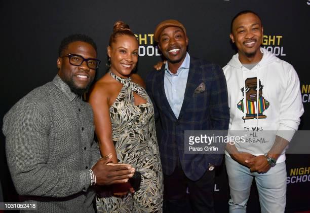 Kevin Hart Heather Hayslett Packer Will Packer and Harry Ratchford attend Night School Atlanta Red Carpet Screening at Regal Atlantic Station on...