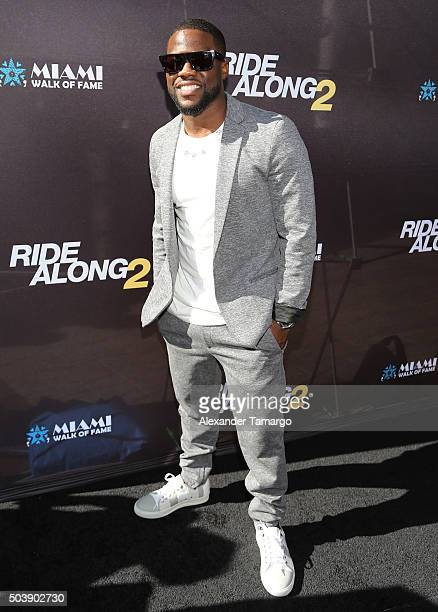 Kevin Hart is seen arriving at the Miami Walk of Fame star presentation for the film 'Ride Along 2' where media partner VarietyLatinocom was live...
