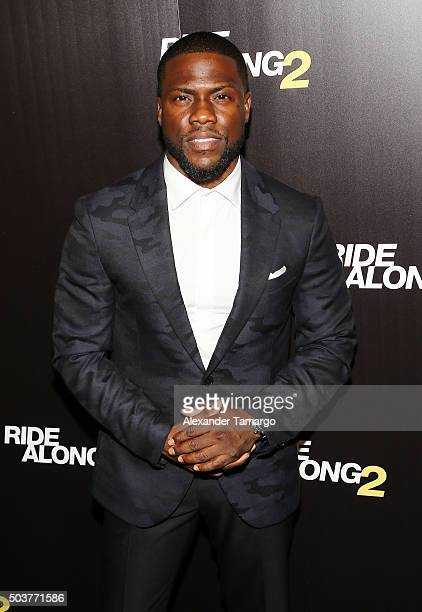 Kevin Hart is seen arriving at the world premiere of the film 'Ride Along 2' on January 6 2016 in Miami Beach Florida
