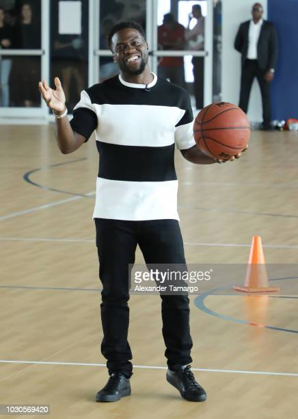 Kevin Hart is seen at SLAM Miami Charter School to promote the film 'Night School' on September 10 2018 in Miami Florida