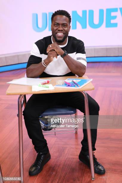 Kevin Hart is seen on the set of Telemundo's 'Un Nuevo Dia' morning show on September 10 2018 in Miami Florida