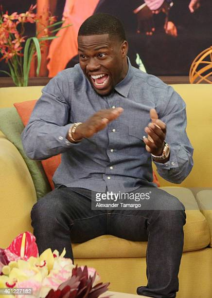 Kevin Hart is seen on the set of Univision's Despierta America to promote film The Wedding Ringer at Univision Headquarters on January 9 2015 in...