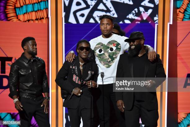 Kevin Hart Lil Uzi Vert Markelle Fultz and Black Thought speak onstage at the 2018 BET Awards at Microsoft Theater on June 24 2018 in Los Angeles...