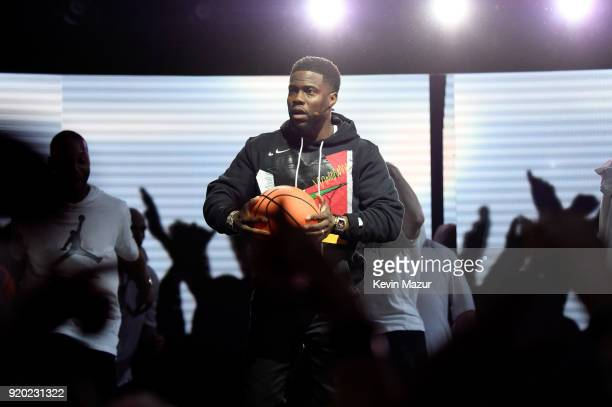Kevin Hart performs before the 67th NBA AllStar Game Team LeBron Vs Team Stephen at Staples Center on February 18 2018 in Los Angeles California