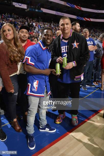 Kevin Hart poses for a photo before the game between the Miami Heat and the Philadelphia 76ers in Game Two of Round One of the 2018 NBA Playoffs on...
