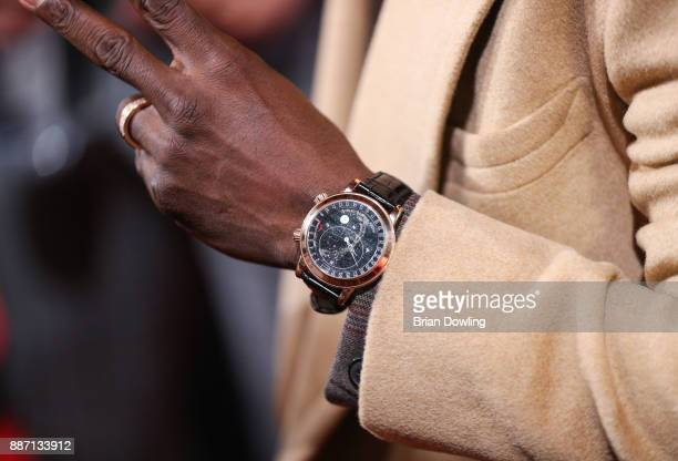 Kevin Hart seen wearing a yellow gold Patek Philippe Ref 6102R Celestial watch arrives at the German premiere of 'Jumanji Willkommen im Dschungel' at...