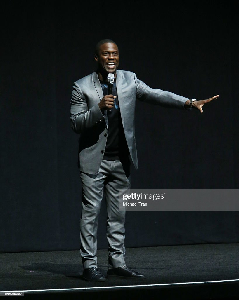 Kevin Hart speaks at a Lionsgate presentation to promote upcoming films held at Caesars Palace during CinemaCon, the official convention of the National Association of Theatre Owners, on April 18, 2013 in Las Vegas, Nevada.