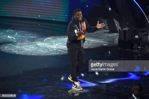 Kevin Hart speaks onstage during the NBA AllStar Game 2018 at Staples Center on February 18 2018 in Los Angeles California