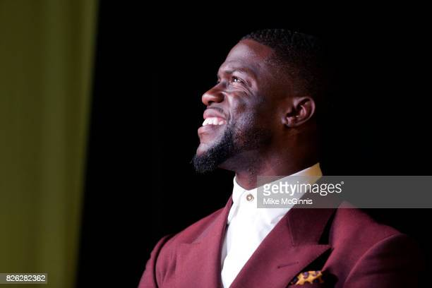 Kevin Hart speaks to the crowd during Launch Of Laugh Out Loud hosted by Kevin Hart And Jon Feltheimer at a Private Residence on August 03 2017 in...