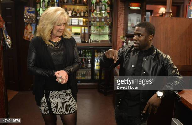 "Kevin Hart, star of ""Ride Along"" makes a visit to the set of Coronation Street where he met Beverley Callard on February 26, 2014 in Manchester,..."