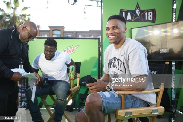 Kevin Hart takes the stage with Oklahoma City Thunder guard Russell Westbrook at Mtn Dew Kickstart Courtside Studios at NBA AllStar 2018 in Los...